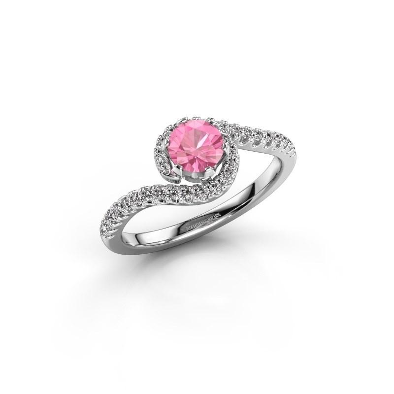 Verlovingsring Elli 585 witgoud roze saffier 5 mm
