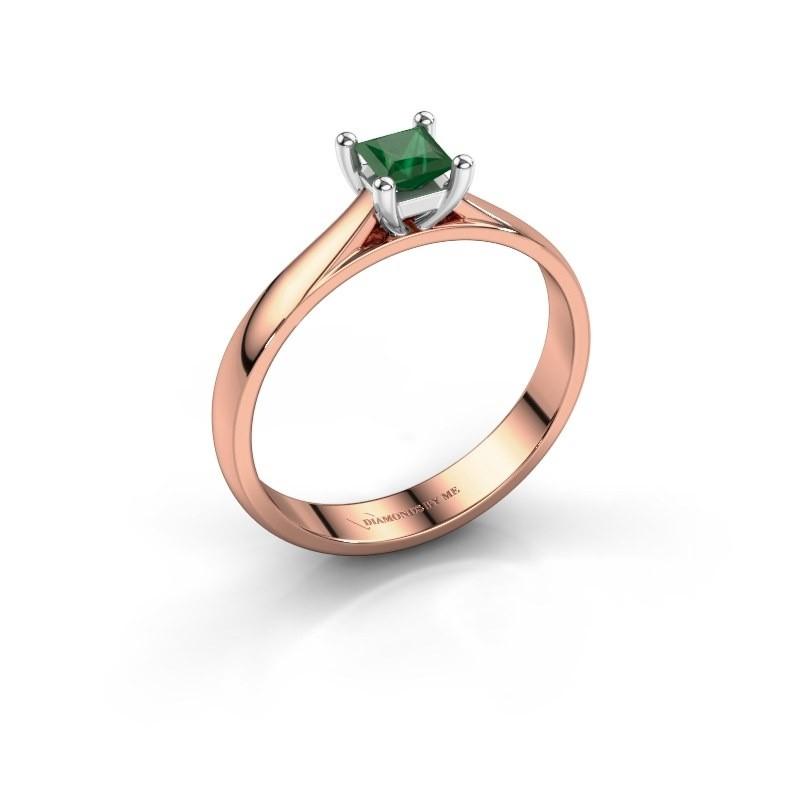 Engagement ring Sam Square 585 rose gold emerald 4 mm