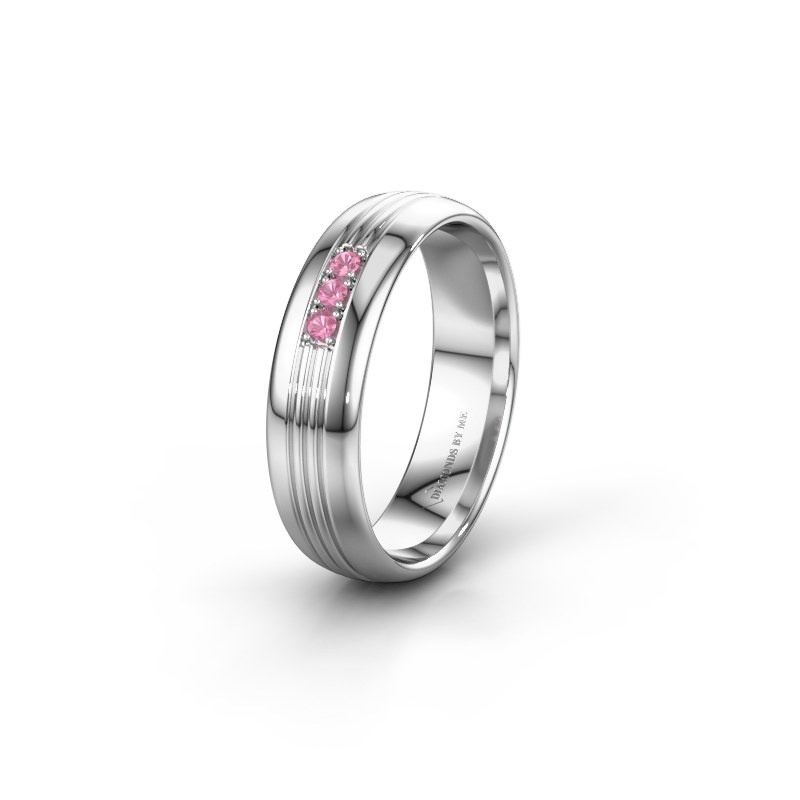 Trouwring WH0405L35X 950 platina roze saffier ±5x1.5 mm