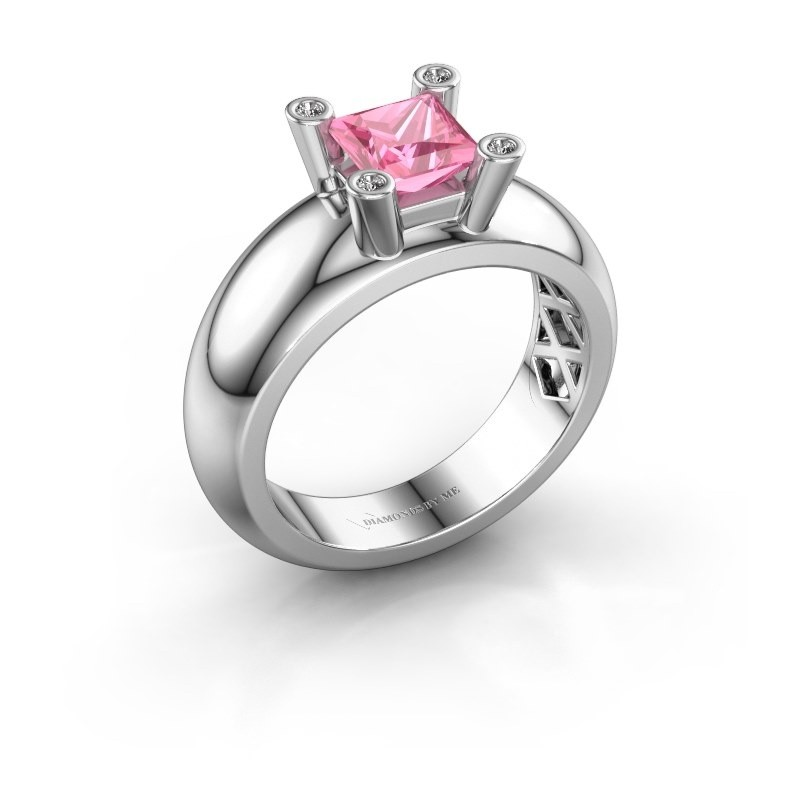 Ring Cornelia Square 925 silver pink sapphire 5 mm