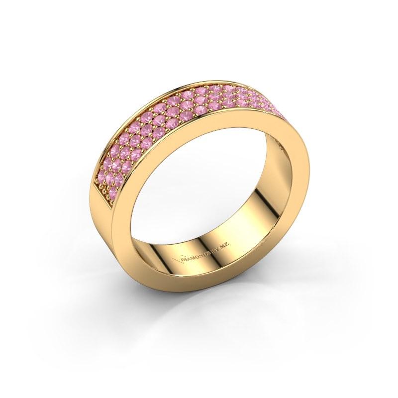 Ring Lindsey 4 585 goud roze saffier 1.3 mm