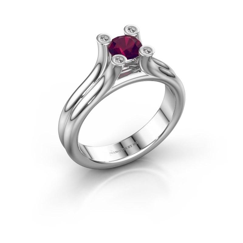 Belofte ring Stefanie 1 950 platina rhodoliet 5 mm