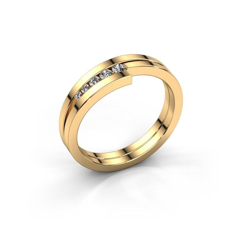 Bague Cato 585 or jaune diamant synthétique 0.125 crt