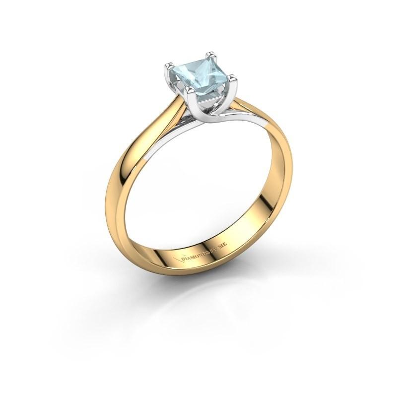 Verlobungsring Mia Square 585 Gold Aquamarin 4 mm