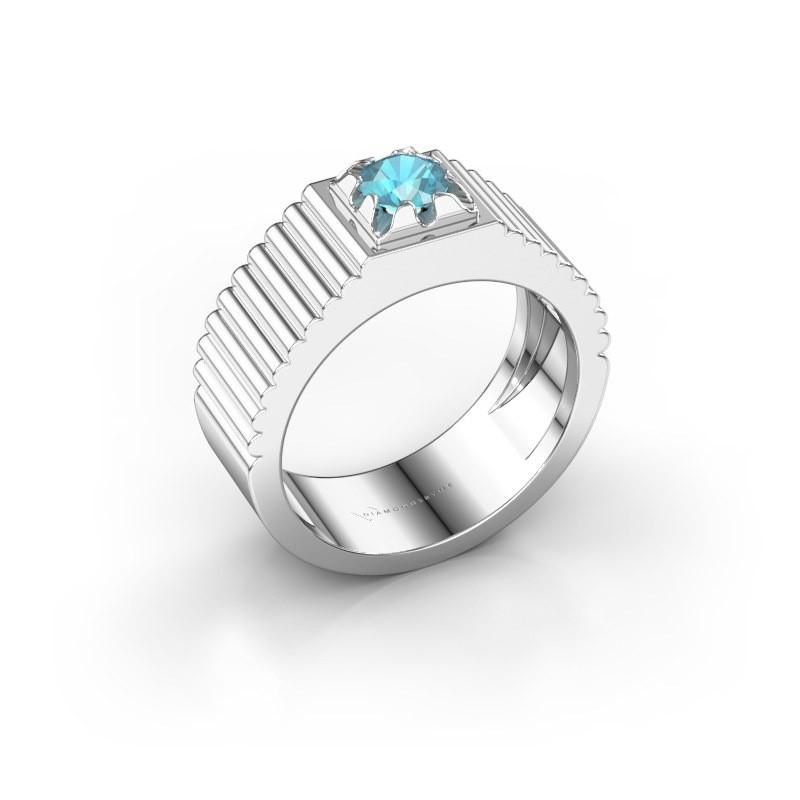 Pink ring Elias 585 witgoud blauw topaas 5 mm