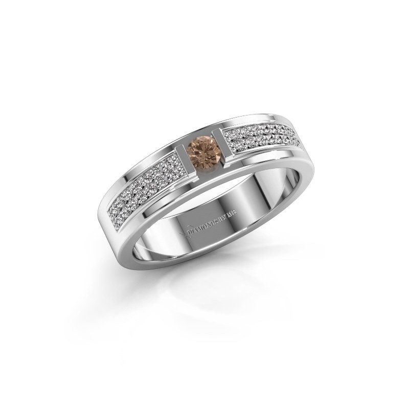 Ring Chanell 585 witgoud bruine diamant 0.26 crt