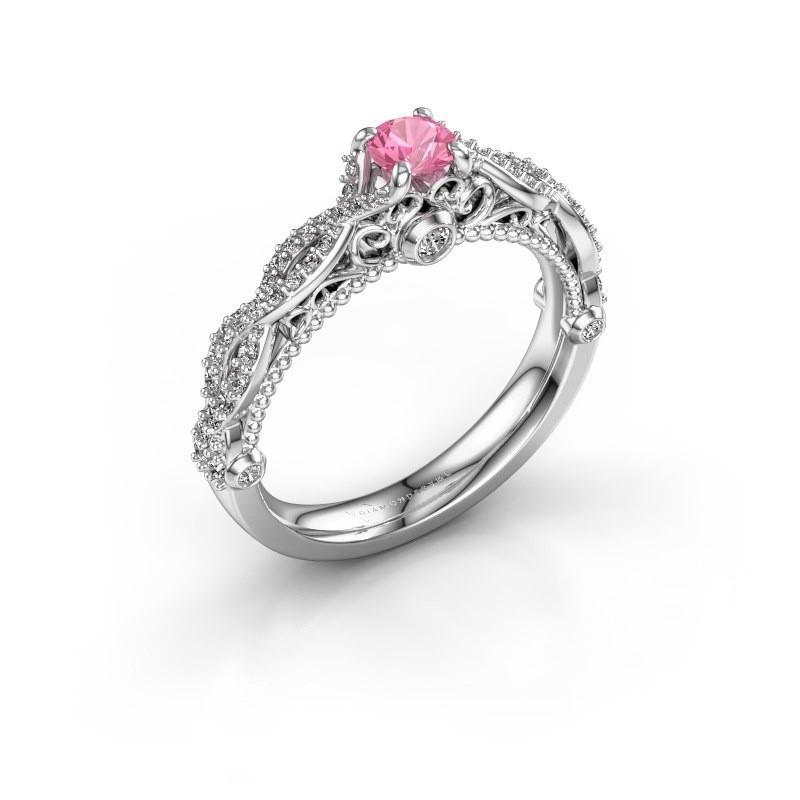 Verlovingsring Chantelle 950 platina roze saffier 4 mm