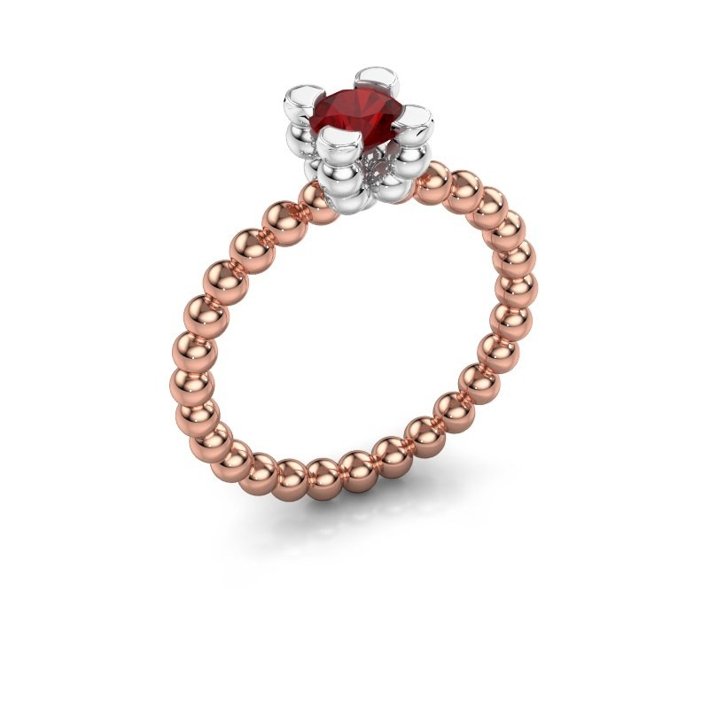 Ring Aurore 585 rosé goud robijn 5 mm