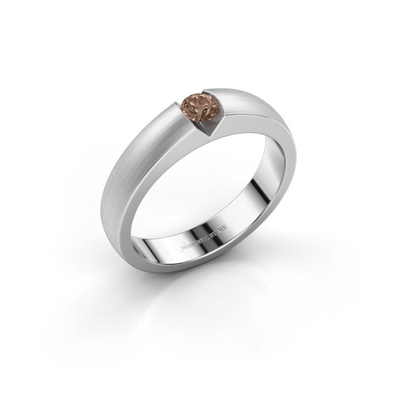 Verlovingsring Theresia 585 witgoud bruine diamant 0.15 crt
