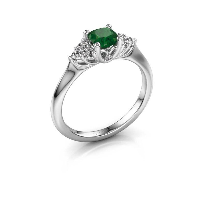 Verlovingsring Felipa CUS 585 witgoud smaragd 5 mm