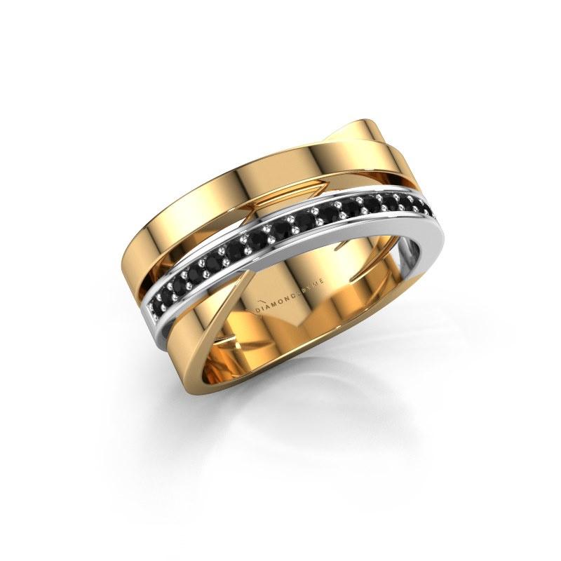 Ring Yolando 585 gold black diamond 0.192 crt