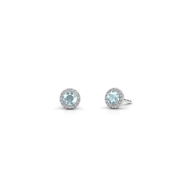 Earrings Seline rnd 925 silver aquamarine 4 mm