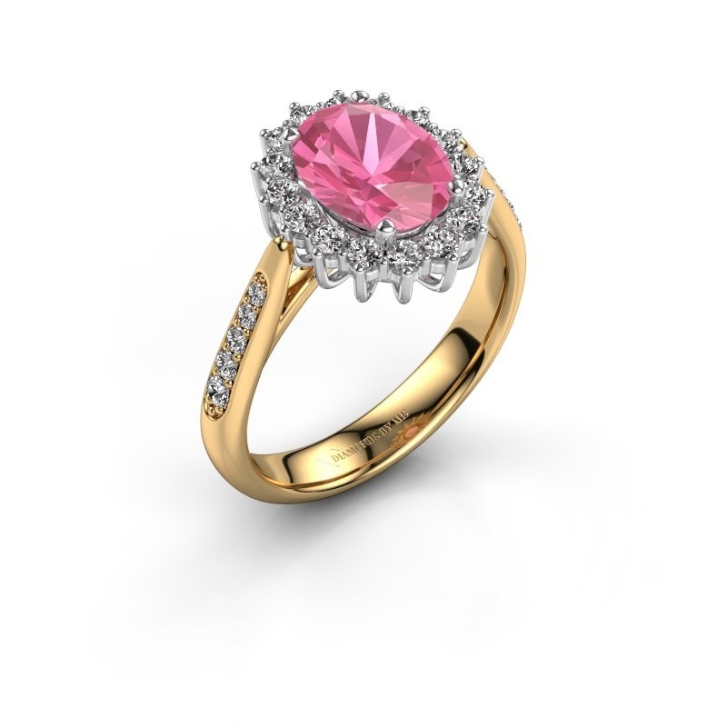 Engagement ring Margien 2 585 gold pink sapphire 7x5 mm