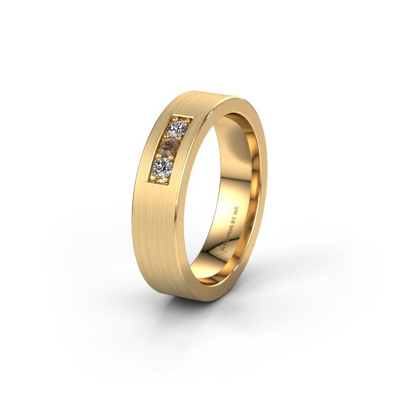 Wedding ring WH0110L15BM 585 gold brown diamond ±5x2 mm