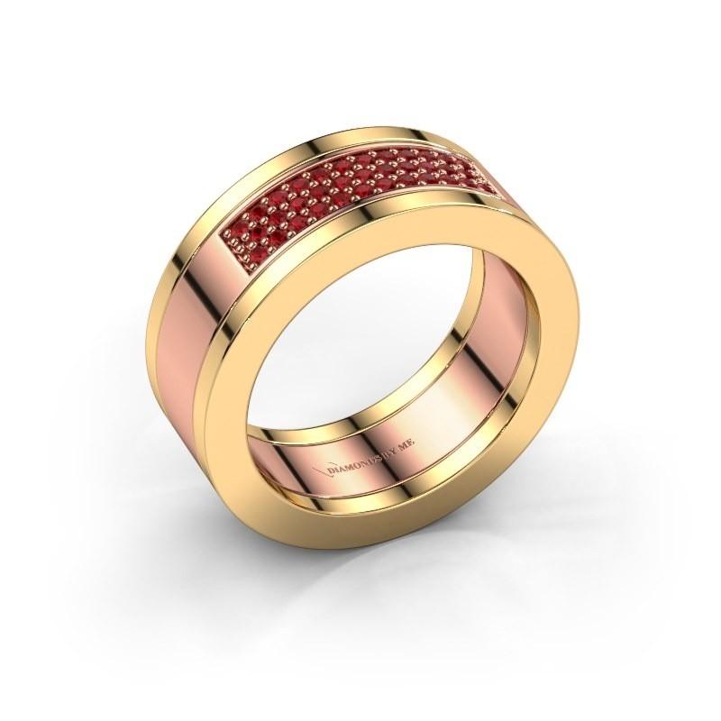 Ring Marita 1 585 rosé goud robijn 1.1 mm