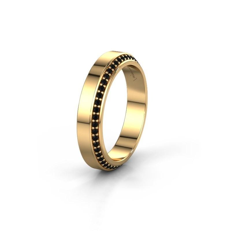 Trouwring WH2106L14C 375 goud zwarte diamant ±4x2.2 mm