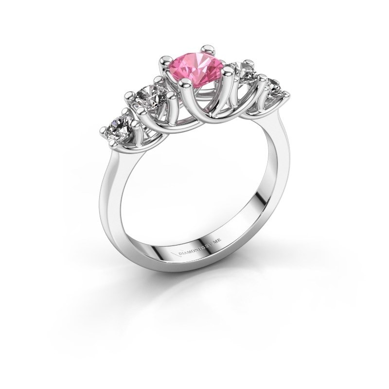 Engagement ring Jet 925 silver pink sapphire 5 mm