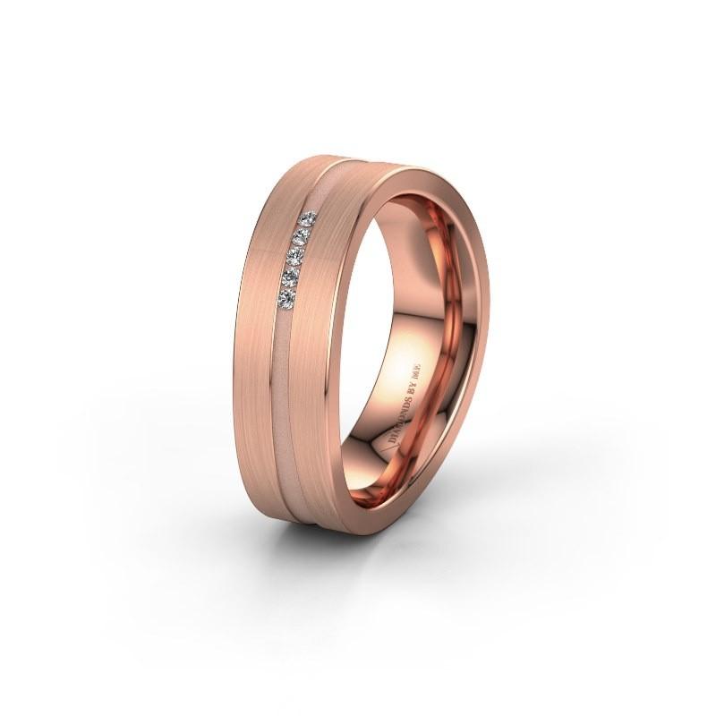 Trouwring WH2019P 375 rosé goud diamant ±6x2 mm