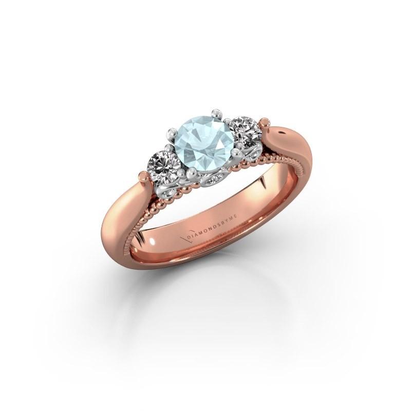 Verlovingsring Tiffani 585 rosé goud aquamarijn 5 mm