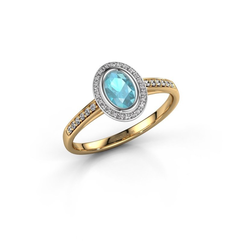 Engagement ring Noud 2 OVL 585 gold blue topaz 6x4 mm