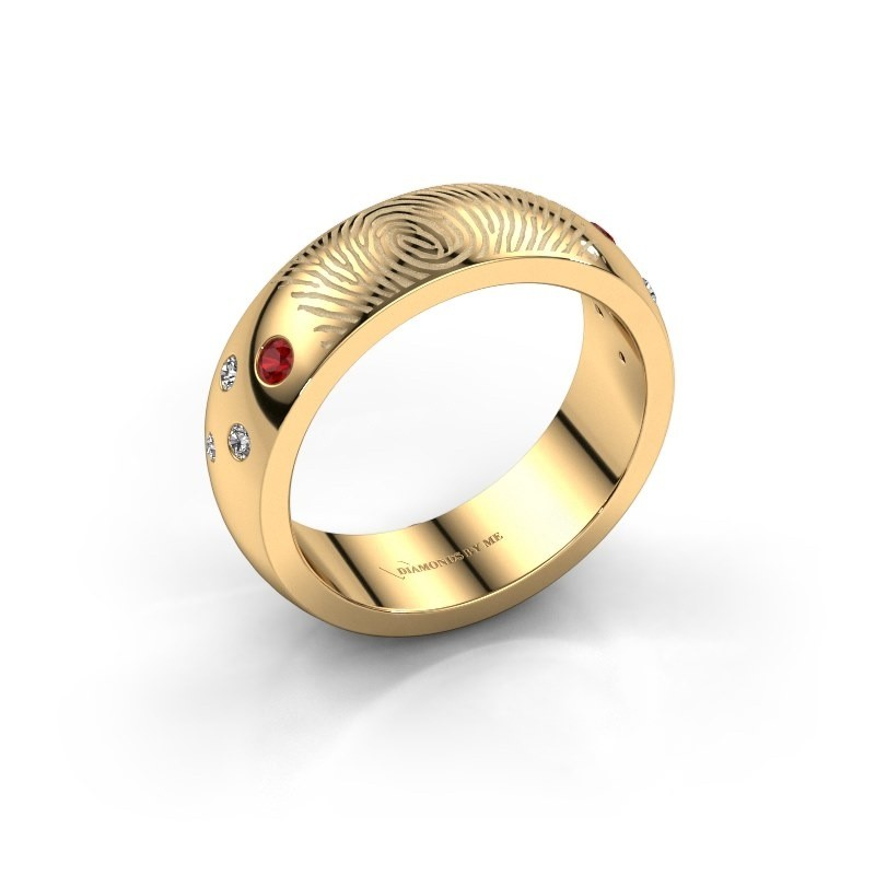 Ring Minke 585 goud robijn 2 mm