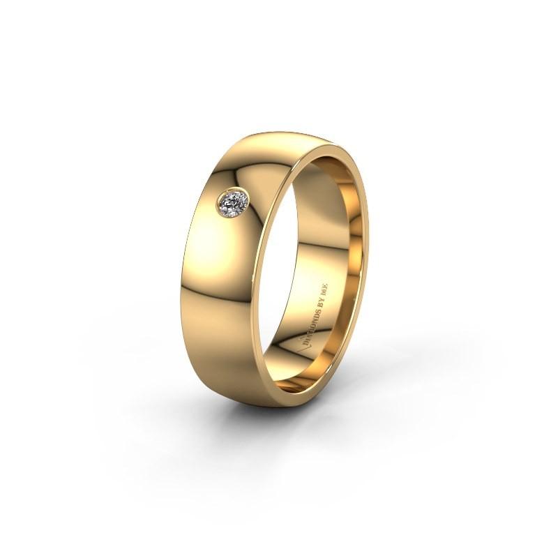 Trouwring WH0101L26AP 375 goud diamant ±6x1.4 mm