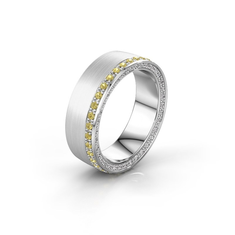 Wedding ring WH2224L26C8 585 white gold yellow sapphire 1.3 mm x2.2 mm