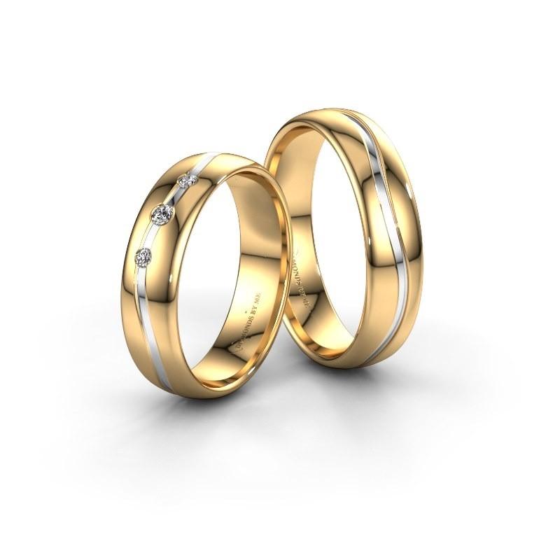 Trouwringen set WH0907LM35XP ±5x1.5 mm 14 karaat goud diamant 0.03 crt