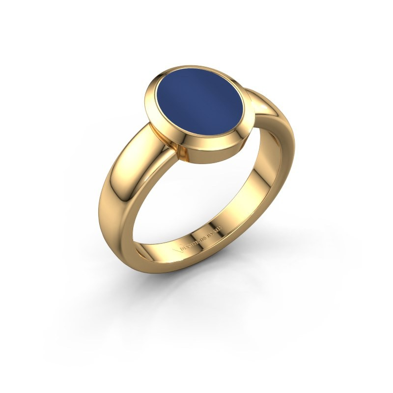 Zegelring Freeda 1 585 goud lapis lazuli 10x8 mm