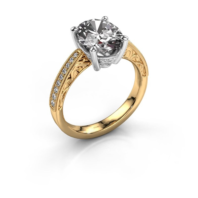 Bague de fiançailles Shonta OVL 585 or jaune diamant 0.93 crt