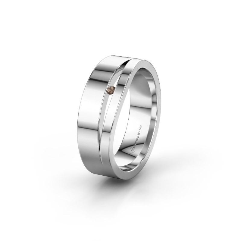 Trouwring WH6000L16AP 925 zilver rookkwarts ±6x1.7 mm