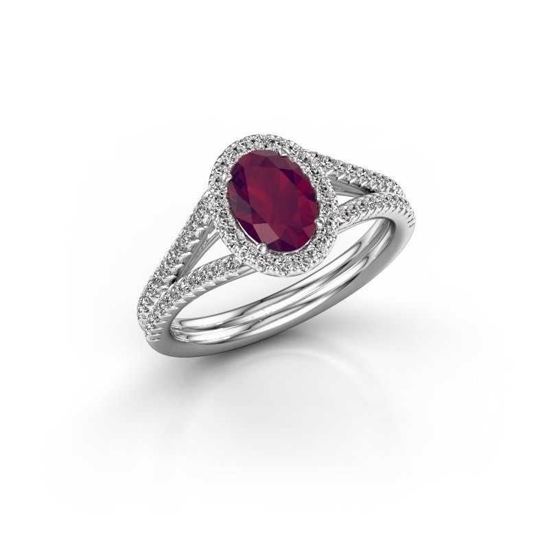 Engagement ring Rachele 2 925 silver rhodolite 7x5 mm