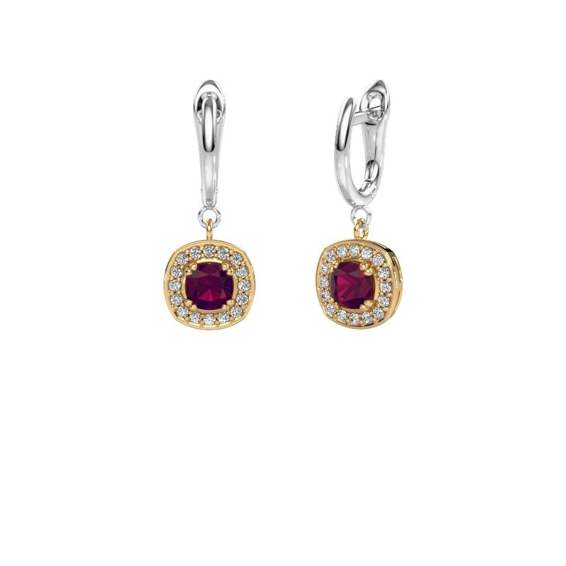 Drop earrings Marlotte 1 585 gold rhodolite 5 mm