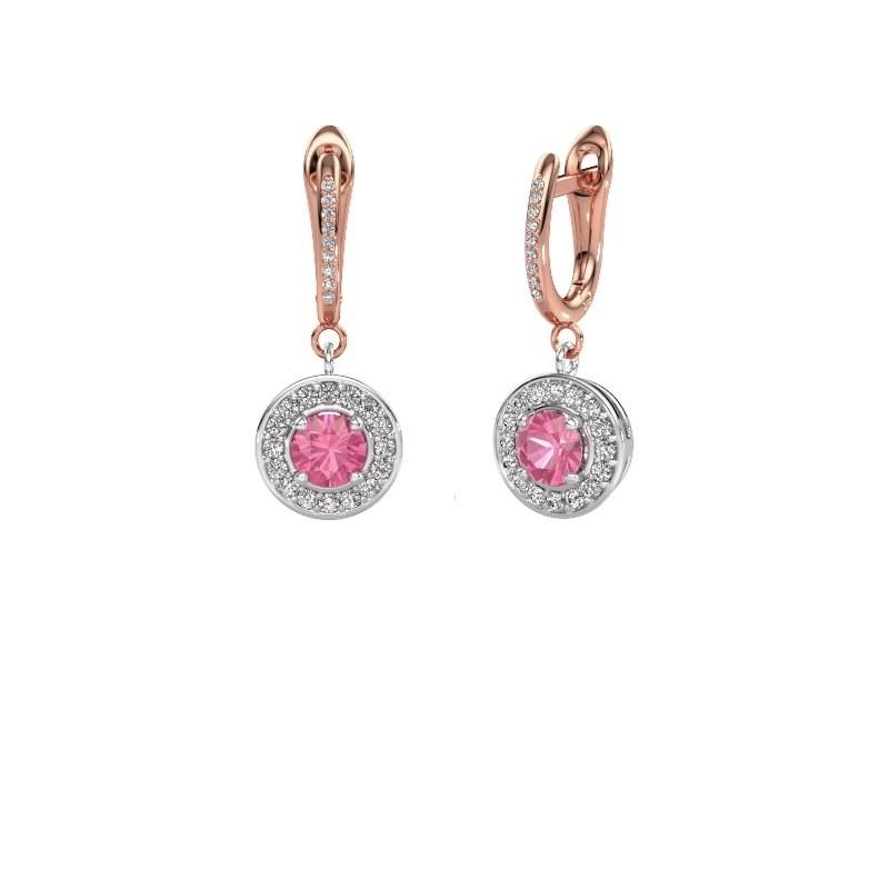 Oorhangers Ninette 2 585 witgoud roze saffier 5 mm
