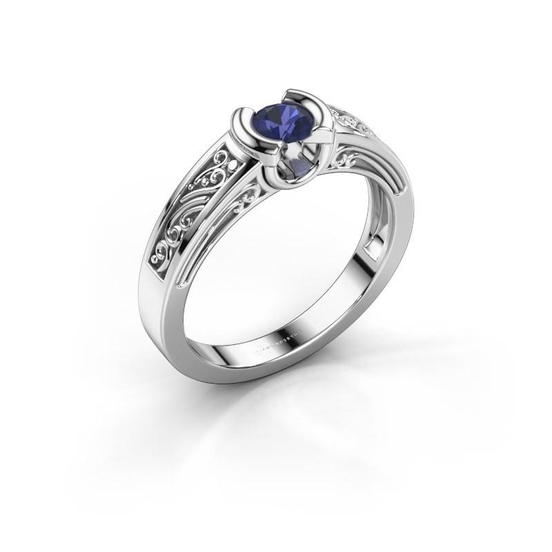 Ring Elena 585 witgoud saffier 4 mm
