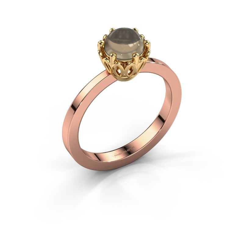 Ring Marly 585 rosé goud rookkwarts 6 mm