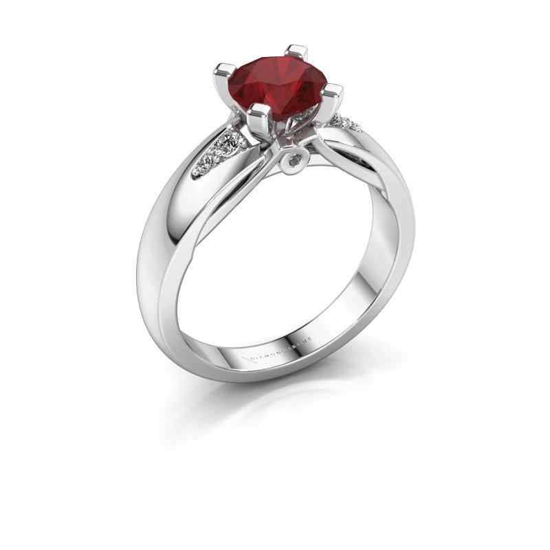 Engagement ring Ize 585 white gold ruby 6.5 mm