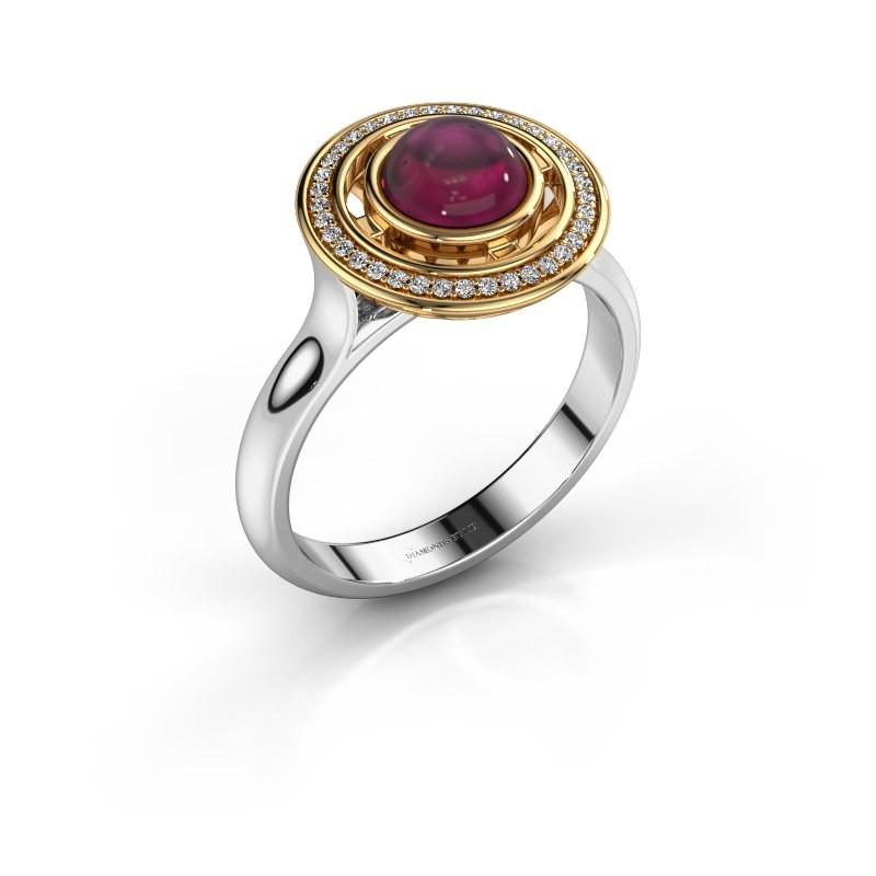 Ring Salima 585 witgoud rhodoliet 6 mm