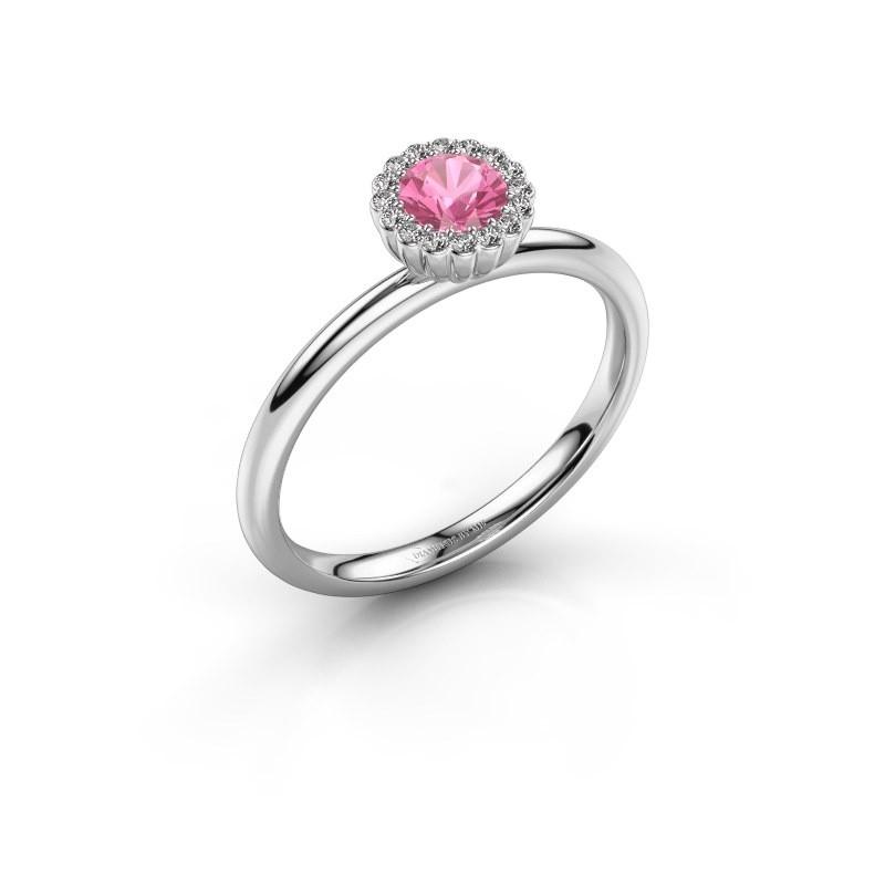 Verlovingsring Queen 925 zilver roze saffier 4.2 mm