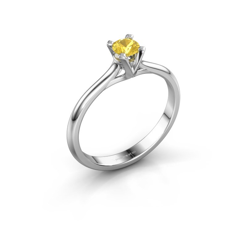 Verlovingsring Isa 1 925 zilver gele saffier 4 mm