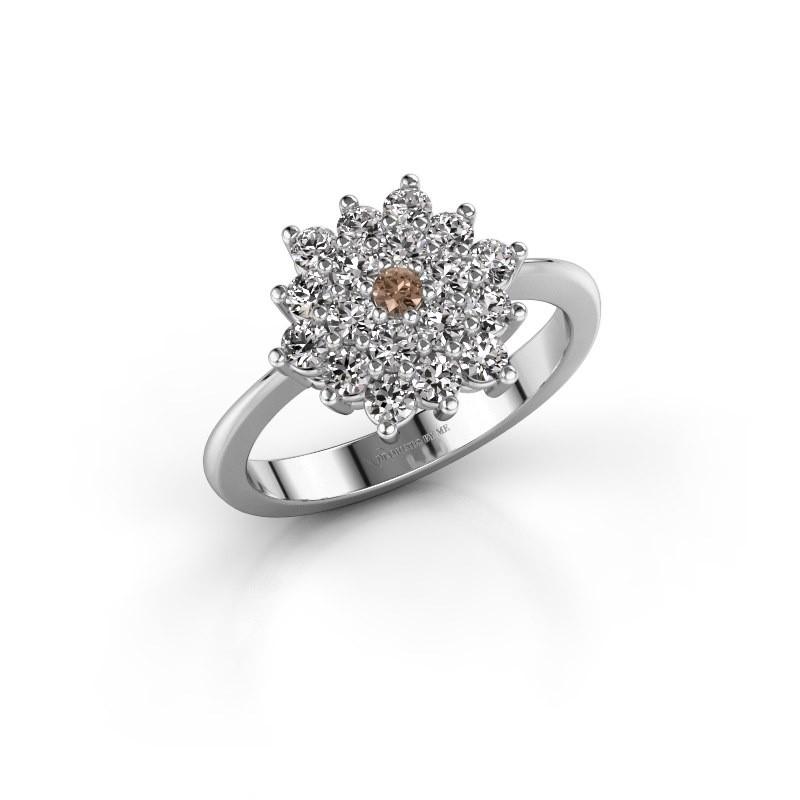Verlovingsring Vickey 2 950 platina bruine diamant 0.045 crt