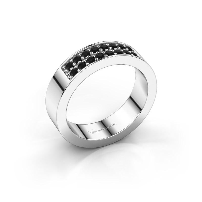 Stackable ring Catharina 5 950 platinum black diamond 0.384 crt