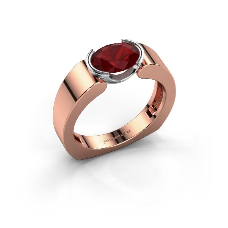 Ring Tonya 585 rosé goud robijn 8x6 mm