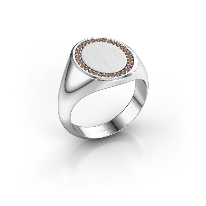 Heren ring Floris Oval 4 375 witgoud bruine diamant 0.233 crt