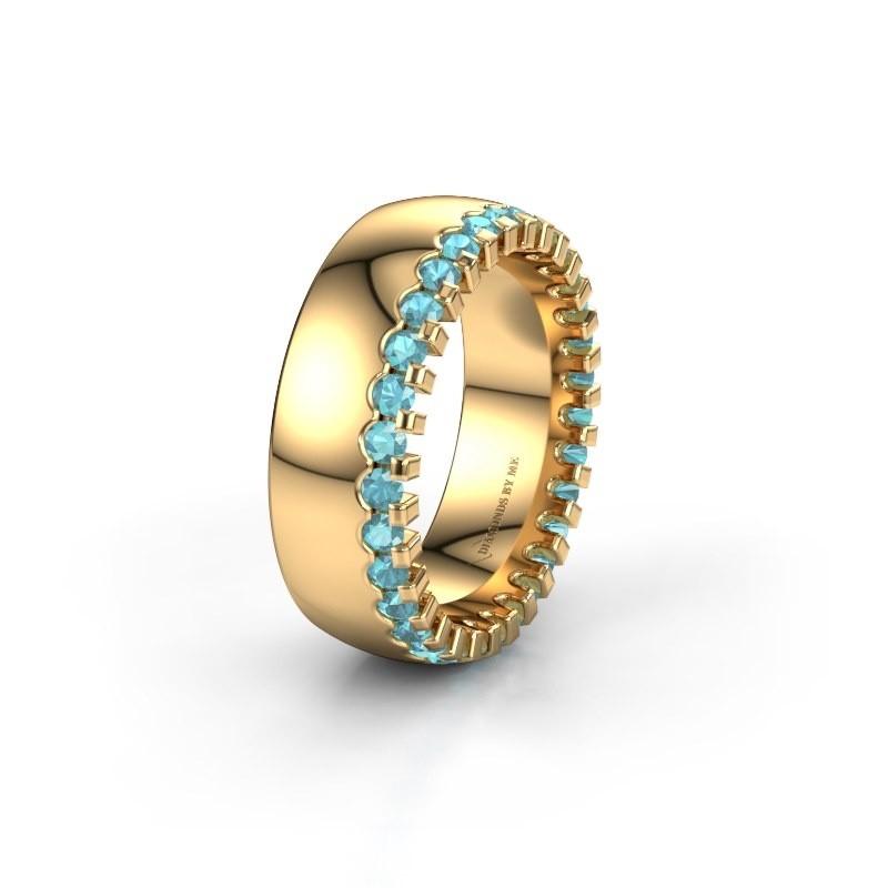 Trouwring WH6120L27C 375 goud blauw topaas ±7x2.2 mm