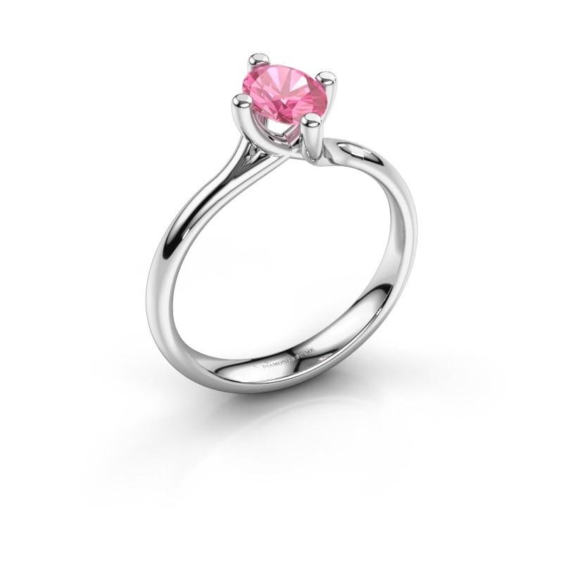 Verlobungsring Dewi Oval 950 Platin Pink Saphir 7x5 mm