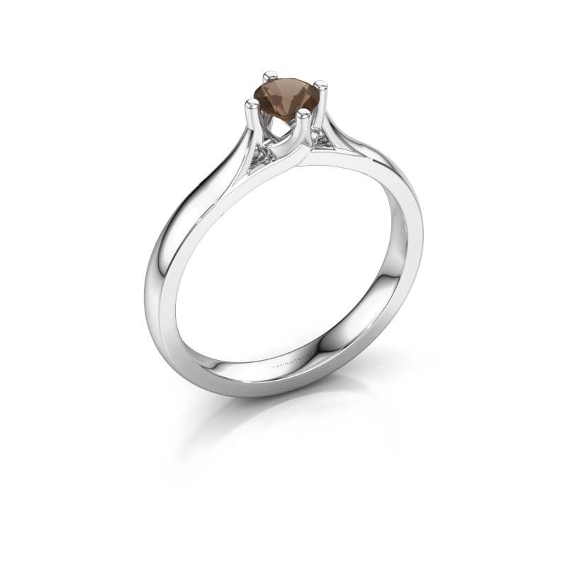 Verlovingsring Eva 925 zilver rookkwarts 4.2 mm