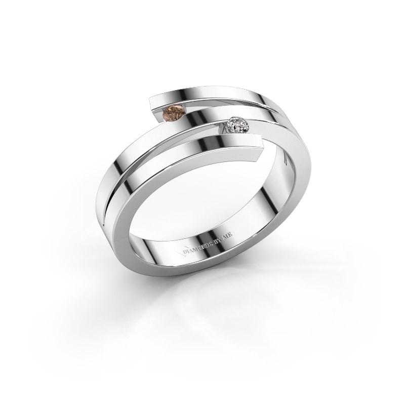 Ring Roxane 585 witgoud bruine diamant 0.06 crt