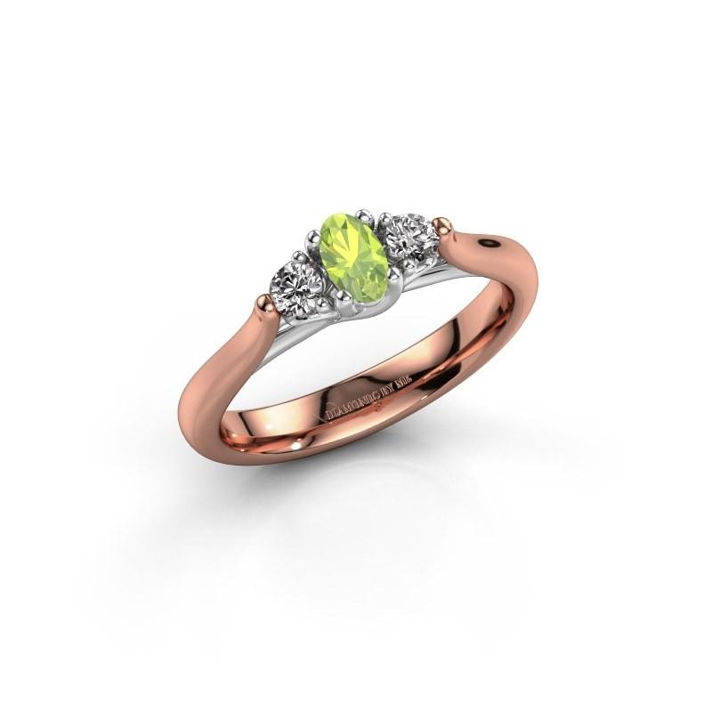 Verlovingsring Jente OVL 585 rosé goud peridoot 5x3 mm