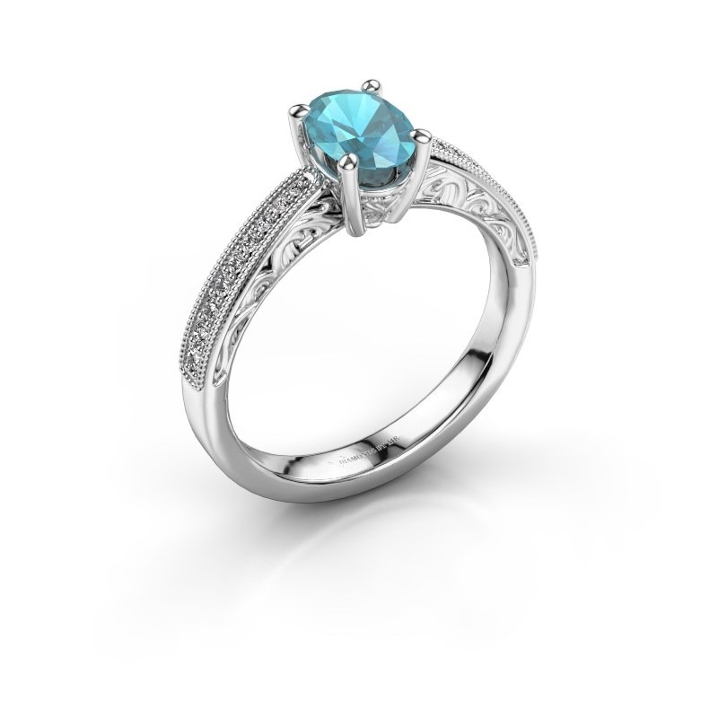 Verlovingsring Shonta OVL 585 witgoud blauw topaas 7x5 mm